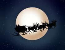 Santa Claus On Sledge With Reindeer Royalty Free Stock Image