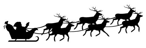 Santa Claus On Sledge. Vector. Silhouette Of Santa Claus On Sledge With Deer, Isolated On White Background Royalty Free Stock Photography