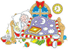 Santa Claus sleeping. Father Christmas sleeps in his bed vector illustration