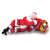 Santa claus is sleeping with gift bag Stock Image