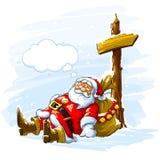 Santa Claus sleeping near the post with arrow royalty free illustration