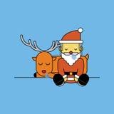 Santa Claus sleeping with Reindeer. Royalty Free Stock Photos