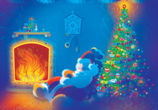 Santa Claus sleeps by the fire. Santa Claus is slightly drunk. He sleeps by the fire in the Christmas decorated room Royalty Free Stock Photos