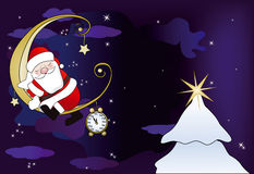 Santa Claus sleeps on the moon Stock Photography