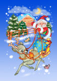 Santa Claus in a sleigh Royalty Free Stock Images