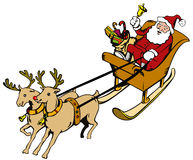 Santa Claus in a sleigh royalty free illustration