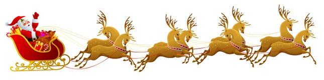 Santa Claus sleigh. Isolated on white Royalty Free Stock Photo