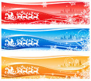 Santa Claus Sleigh Banners stock illustration