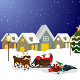 Santa Claus on sleigh for Christmas. Vector Illustration