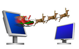 Santa Claus sleigh computer Stock Images