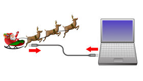 Santa Claus sleigh computer Royalty Free Stock Photo
