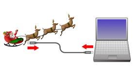 Santa Claus sleigh computer Royalty Free Stock Photo