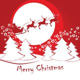 Santa Claus on a sleigh with deer rides against the background o royalty free illustration