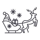 Santa claus in a sleigh with a deer vector line icon, sign, illustration on background, editable strokes royalty free illustration