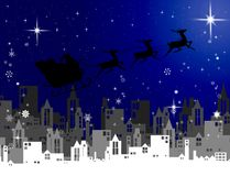 Santa Claus with sleigh fly over city at night, Christmas Royalty Free Stock Photo