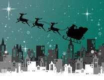 Santa Claus with sleigh fly over city at night, Christmas Stock Photos