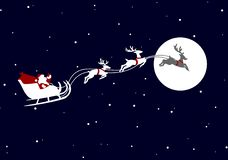Santa Claus sleigh. Flying in the night royalty free illustration
