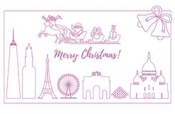 Santa Claus in sleigh flying over buildings. Santa Claus with Christmas presents in sleigh with reindeers over famous buildings and constructions of different Royalty Free Stock Image