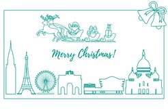 Santa Claus in sleigh flying over buildings. Santa Claus with Christmas presents in sleigh with reindeers over famous buildings and constructions of different Royalty Free Stock Photography