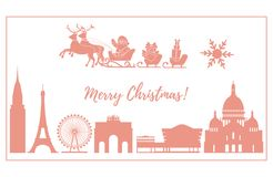 Santa Claus in sleigh flying over buildings. Santa Claus with Christmas presents in sleigh with reindeers over famous buildings and constructions of different Stock Images