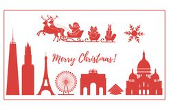 Santa Claus in sleigh flying over buildings. Santa Claus with Christmas presents in sleigh with reindeers over famous buildings and constructions of different Stock Image