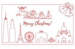 Santa Claus in sleigh flying over buildings. Santa Claus with Christmas presents in sleigh with reindeers over famous buildings and constructions of different Stock Photo
