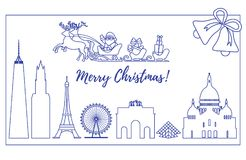 Santa Claus in sleigh flying over buildings. Santa Claus with Christmas presents in sleigh with reindeers over famous buildings and constructions of different Stock Photos