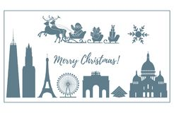 Santa Claus in sleigh flying over buildings. Santa Claus with Christmas presents in sleigh with reindeers over famous buildings and constructions of different Royalty Free Stock Images