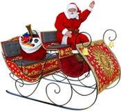 Santa Claus Sleigh, Geïsoleerd Speelgoed, Stock Foto