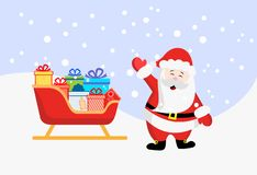 Santa Claus. Sleigh with gifts. New year and Christmas. Vector stock illustration. vector illustration