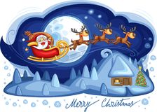 Santa Claus sleigh with his reindeer flying over a winter landscape. Vector illustration Stock Photo