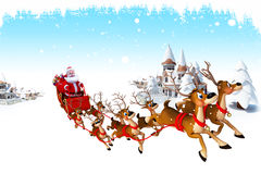 Santa claus with sleigh before many buildings Stock Image