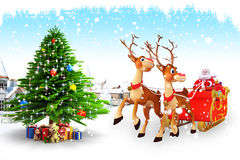 Santa claus with sleigh near christmas tree Stock Photo