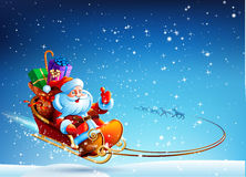 Santa Claus in a sleigh pulled by reindeer flying Royalty Free Stock Images