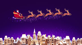 Santa Claus in sleigh pulled by reindeer flying over city. Christmas vector. Illustration Royalty Free Illustration
