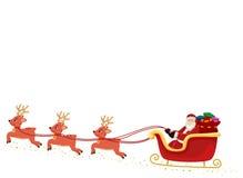 Santa Claus on Sleigh and Raindeers stock illustration
