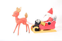 Santa Claus Sleigh and Reindeer Royalty Free Stock Image