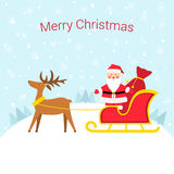 Santa Claus in a sleigh with reindeer. Santa Claus in a sleigh with a bag of gifts. Snowy winter festive background Royalty Free Stock Images
