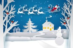 Santa Claus Sleigh Reindeer Fly Images stock