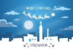 Santa Claus Sleigh Reindeer Fly Sweden Sky  Stock Photography