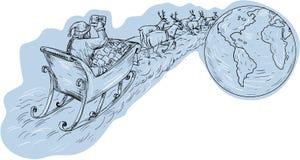 Santa Claus Sleigh Reindeer Gifts Around o desenho do mundo ilustração do vetor