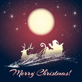Santa Claus on Sleigh with Reindeer Royalty Free Stock Image