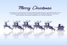 Santa Claus Sleigh Reindeer Silhouette Christmas Stock Image
