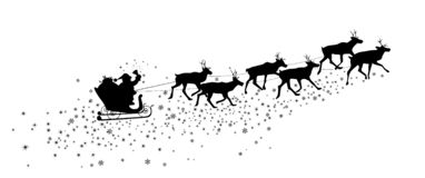 Santa Claus in a sleigh with reindeer, silhouette. Silhouette of Santa Claus and a deer. Snowflakes and asterisks. Santa Claus and reindeer on a white background royalty free illustration