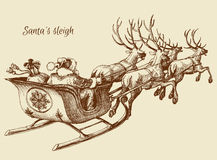 Santa Claus sleigh. Santa Claus reindeer sleigh sketch Stock Photography