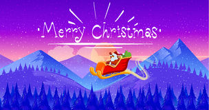 Santa Claus on sleigh with reindeer in snowy Christmas night Royalty Free Stock Photography