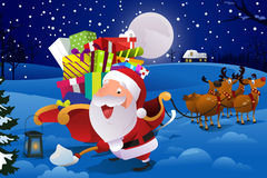 Santa Claus With Sleigh Shoveling Snow Imagens de Stock Royalty Free