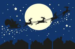 Santa Claus in sleigh. Silhouette on blue sky. Santa Claus flying in sleigh with deer. Black silhouette on blue sky with moon and sity silhouette. Vector Royalty Free Stock Photography