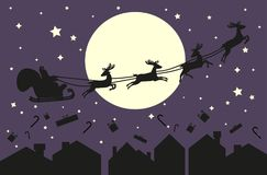 Santa Claus in sleigh. Silhouette on blue sky. Santa Claus flying in sleigh with deer. Black silhouette on violet sky with moon and sity silhouette. Vector Stock Photography