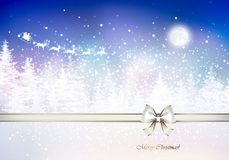Santa Claus in a sleigh sweeps over the winter forest. Holiday Christmas background Royalty Free Stock Image